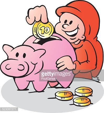 397x432 Happy Christmas Elf Put Money Into The Piggy Bank Premium Clipart