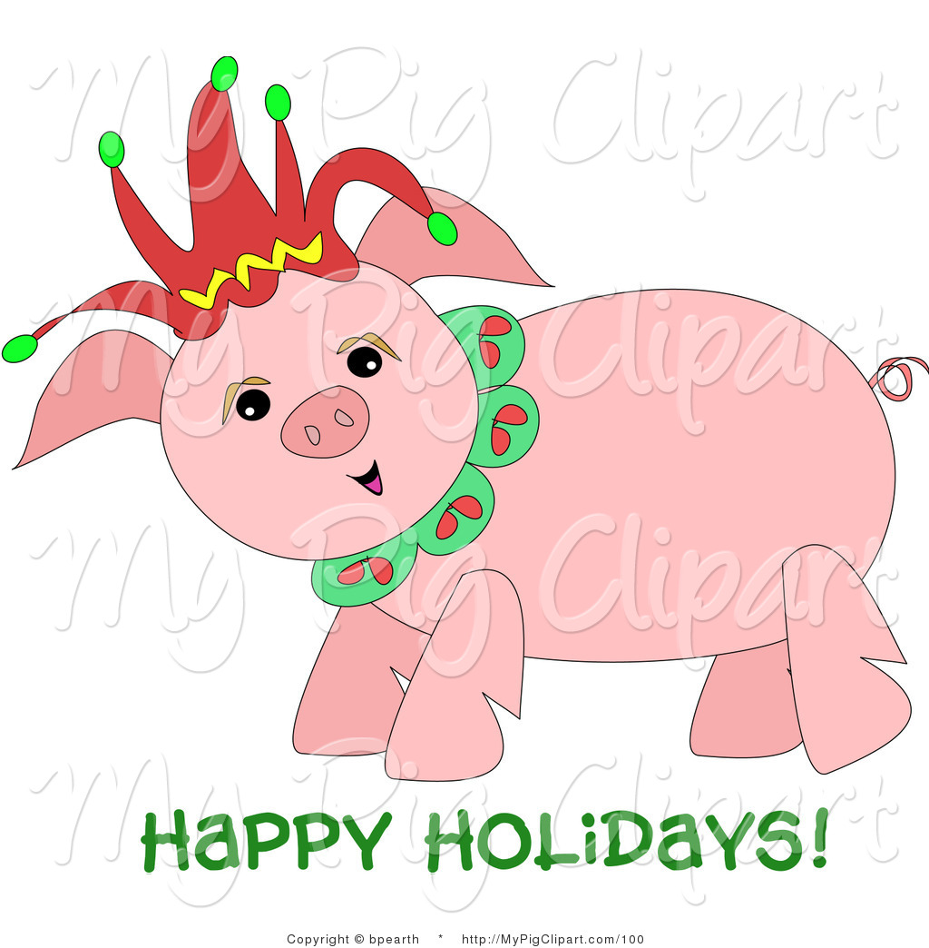 1024x1044 Swine Clipart Of A Happy Chubby Pig Wearing A Christmas Jester Hat
