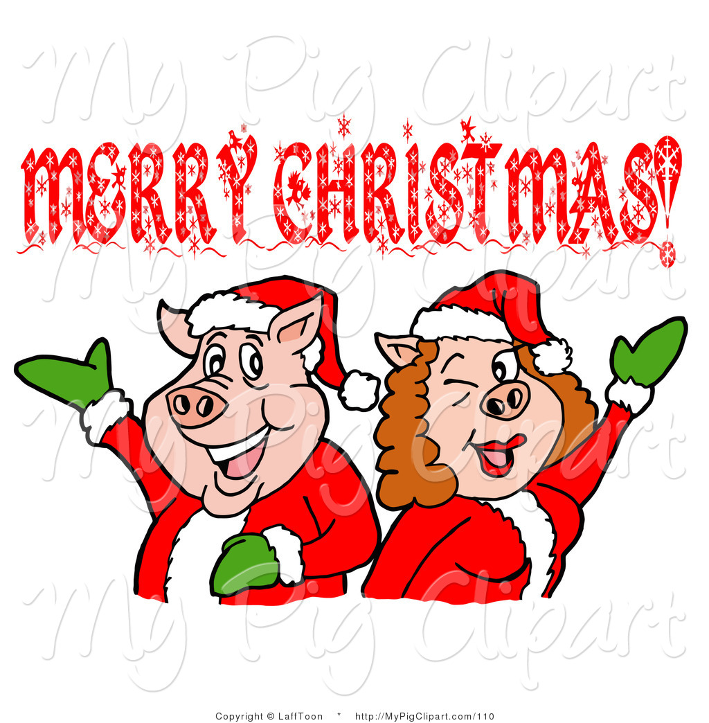 1024x1044 Swine Clipart Of A Pink Pig Couple In Santa Suits, Holding Their