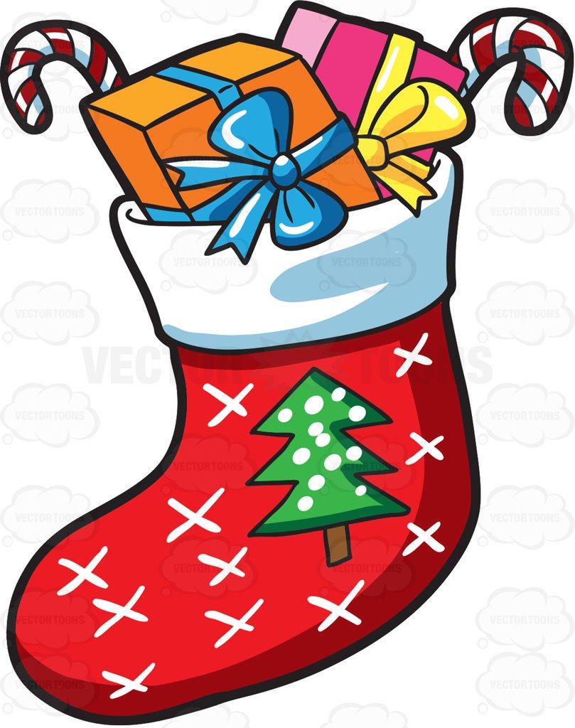 809x1024 A Christmas Sock With Presents Cartoon Clipart Vector Toons