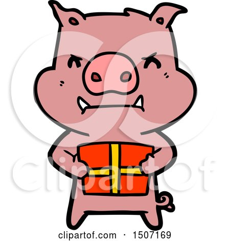 450x470 Angry Animal Clipart Cartoon Pig With Christmas Gift By