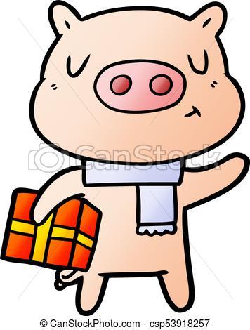 356x470 Cartoon Christmas Pig Clipart Vector
