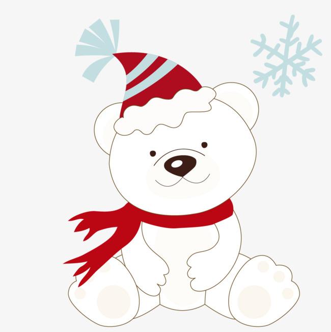 650x651 A Polar Bear With A Christmas Hat, Polar Bear Material, Polar Bear