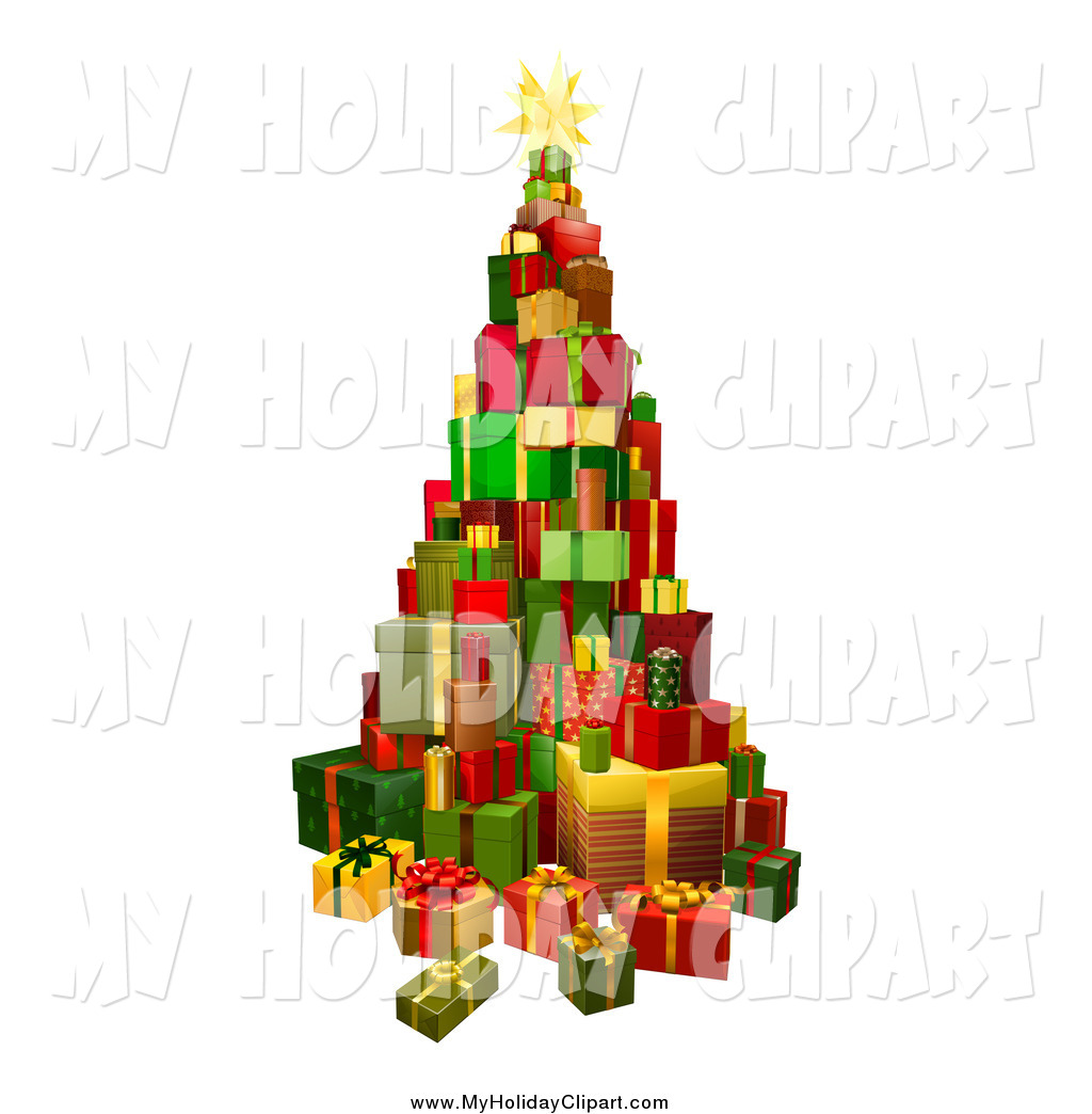 1024x1044 Clip Art Of A 3d Christmas Tree Present Tower By