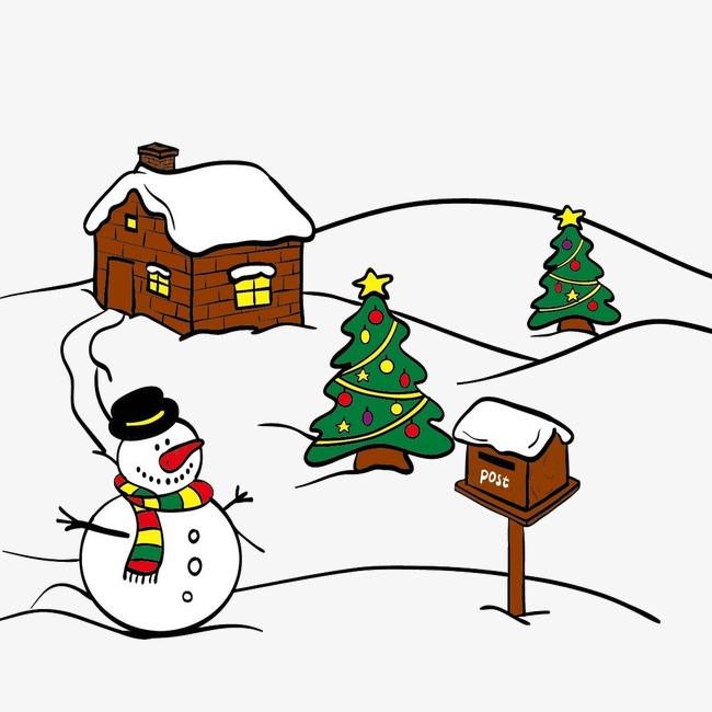 650x650 Christmas Scene, Snow, Snowman, Christmas Tree Png Image