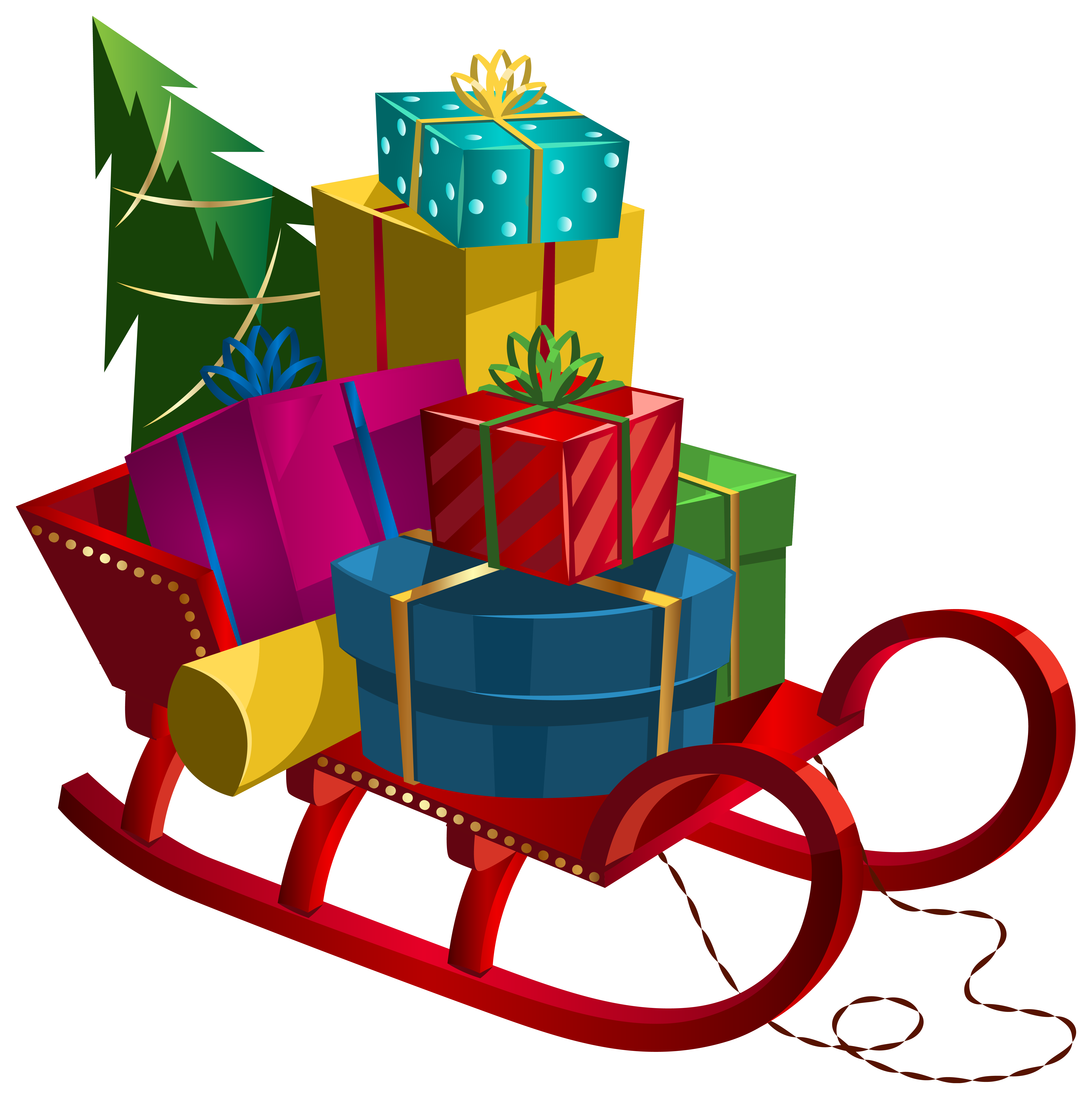 5995x6034 Christmas Sleigh With Gifts Png Clip Art Imageu200b Gallery