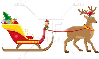 400x240 Christmas Sleigh Of Santa Claus With Gifts Royalty Free Vector
