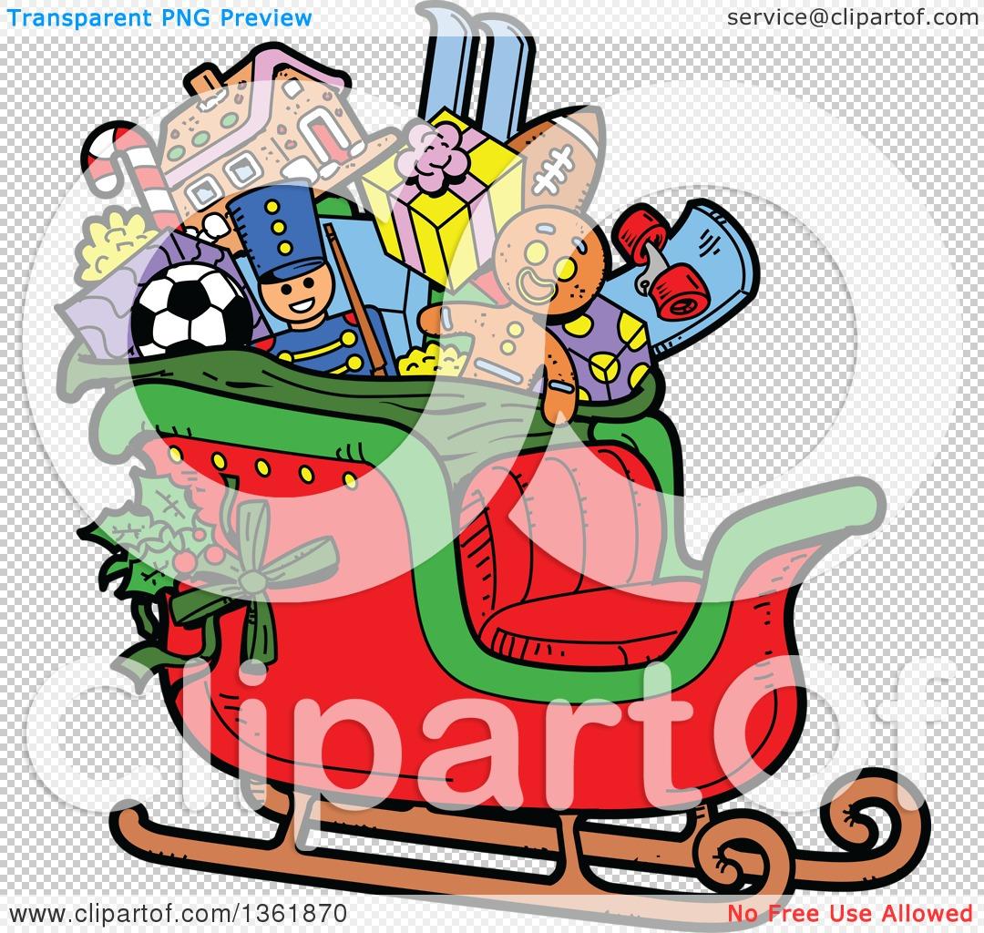 1080x1024 Clipart Of A Cartoon Santas Christmas Sleigh With Holly, Toys