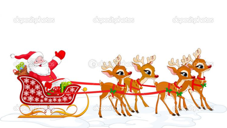 750x425 Reindeer With Santa Santa Claus And His Sleigh Free Download Clip