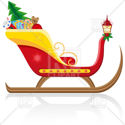 400x400 Santa Claus' Christmas Sleigh With Gifts Royalty Free Vector Clip