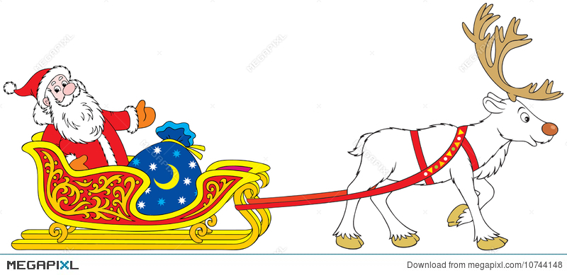 800x389 Santa Claus Driving In The Sleigh With Reindeer Illustration