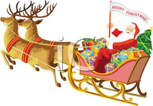300x208 Santa Claus Sitting In A Sled Full Of Christmas Presents Pulled By