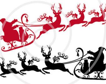 340x270 Santa Sleigh With Moose Digital Clip Art For Christmas Card
