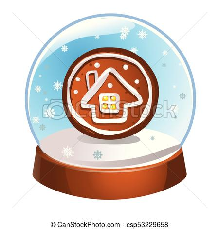 450x470 Snow Globe With A Winter House Inside Isolated On White Clipart