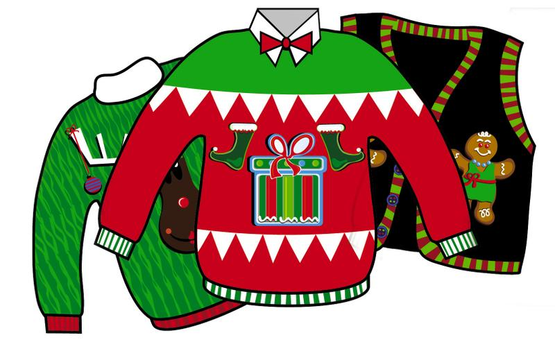 800x516 Ugly Christmas Sweater Party Cartoons Happy Holidays!