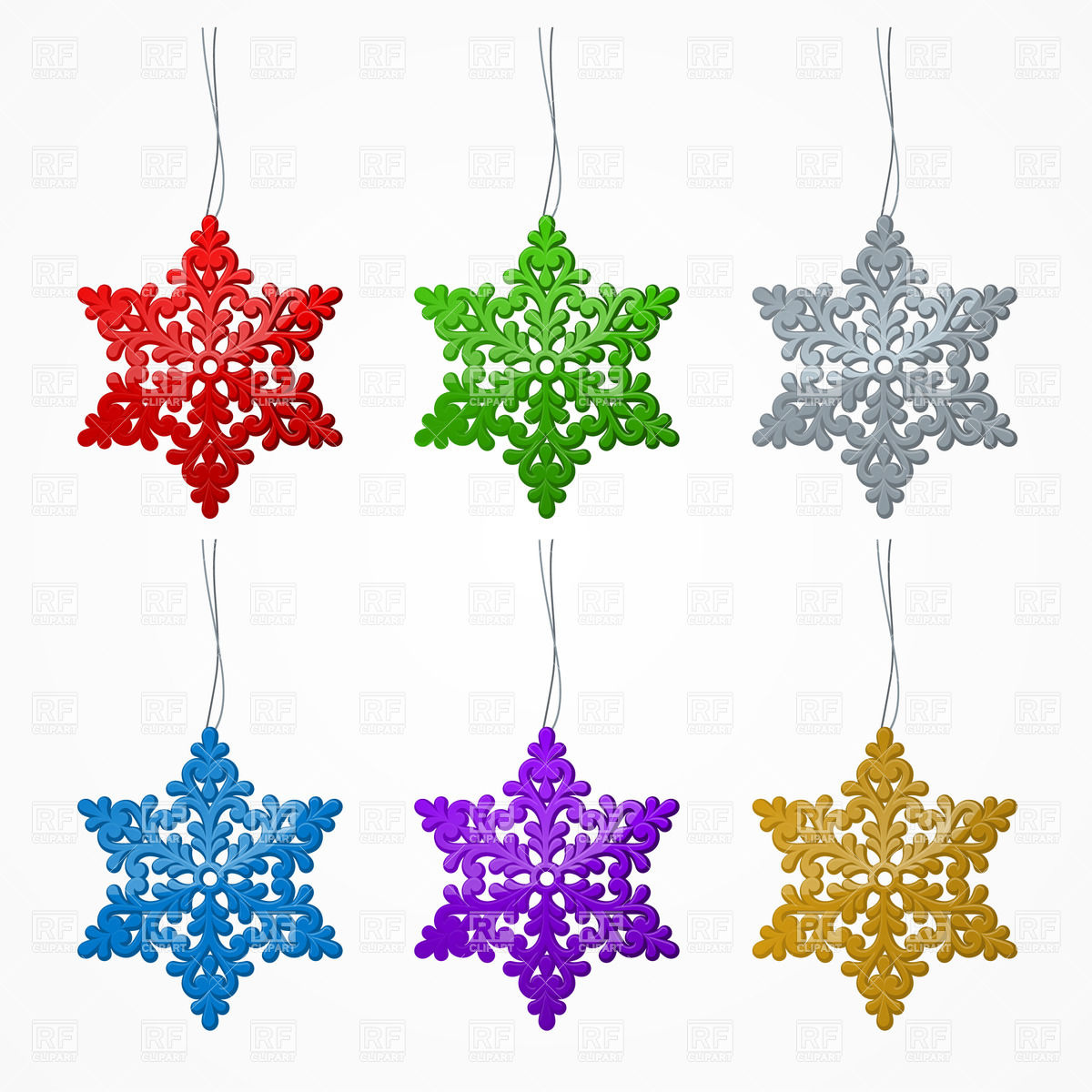 1200x1200 Set Of Multi Colored Christmas Snowflakes Royalty Free Vector Clip