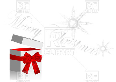 400x283 Christmas Gift With Open Cover, Snowflakes And Ribbon Royalty Free
