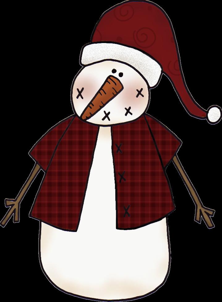 718x975 Free Primitive Snowman Clipart