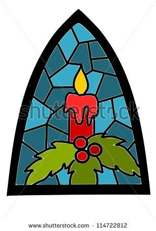 318x470 Candle On Blue Stained Glass Window For Christmas Time