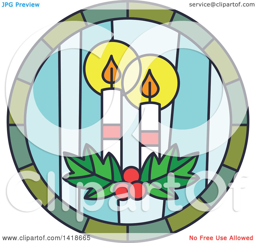 1080x1024 Clipart Of A Round Stained Glass Christmas Candles Design