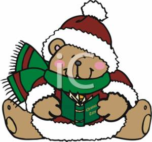 300x281 Clipart Illustration Of A Christmas Teddy With A Story Book