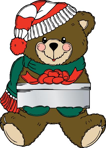 426x593 Christmas Teddy Bear With Present Clip Art