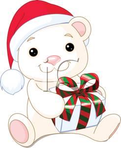 246x300 A Polar Bear Teddy Bear Holding A Christmas Present Clip Art Image