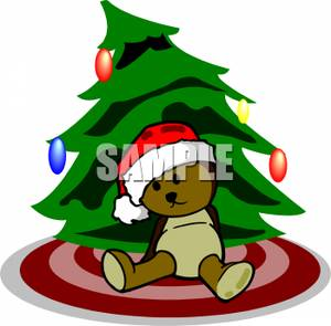 300x295 Teddy Bear Sitting In Front Of A Christmas Tree Clip Art Image