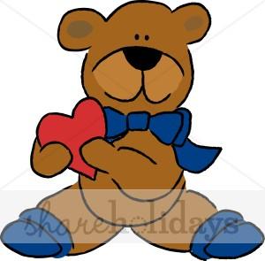 300x295 Cartoon Bear With Heart Clipart Christmas Teddy Bear Clipart