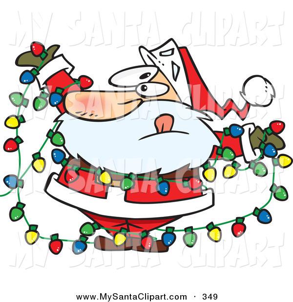 600x620 Christmas Clip Art A Caucasian Santa Claus Tangled In A Mess