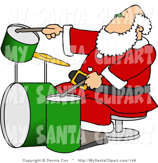 600x620 Christmas Clip Art Of A Jazzy Santa Claus Playing With A New Drum