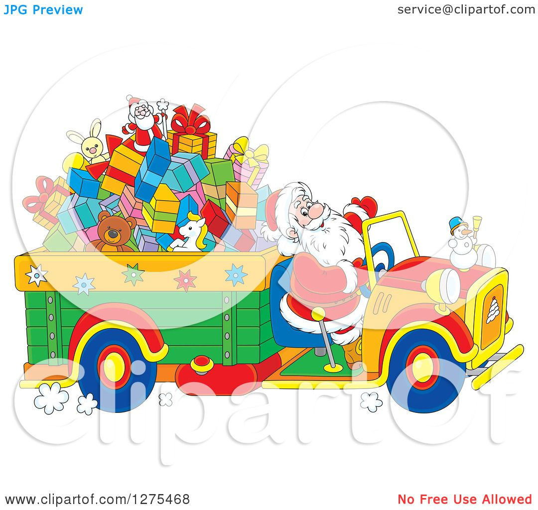 1080x1024 Clipart Of Santa Driving A Truck Full Of Christmas Gifts And Toys