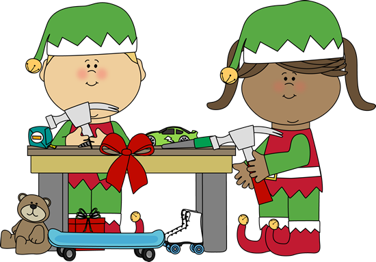550x383 Elves Making Toys Clip Art
