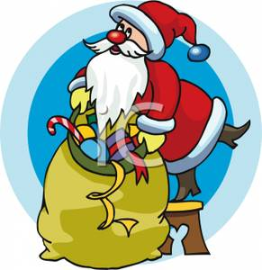 291x300 Cartoon Of Santa Picking Up A Giant Bag Of Christmas Toys