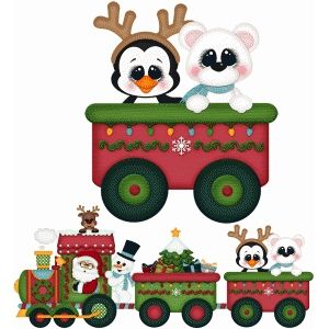 Christmas Trains Clipart