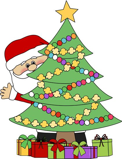 422x550 Christmas Clip Art Santa Behind A Christmas Tree Clip Art