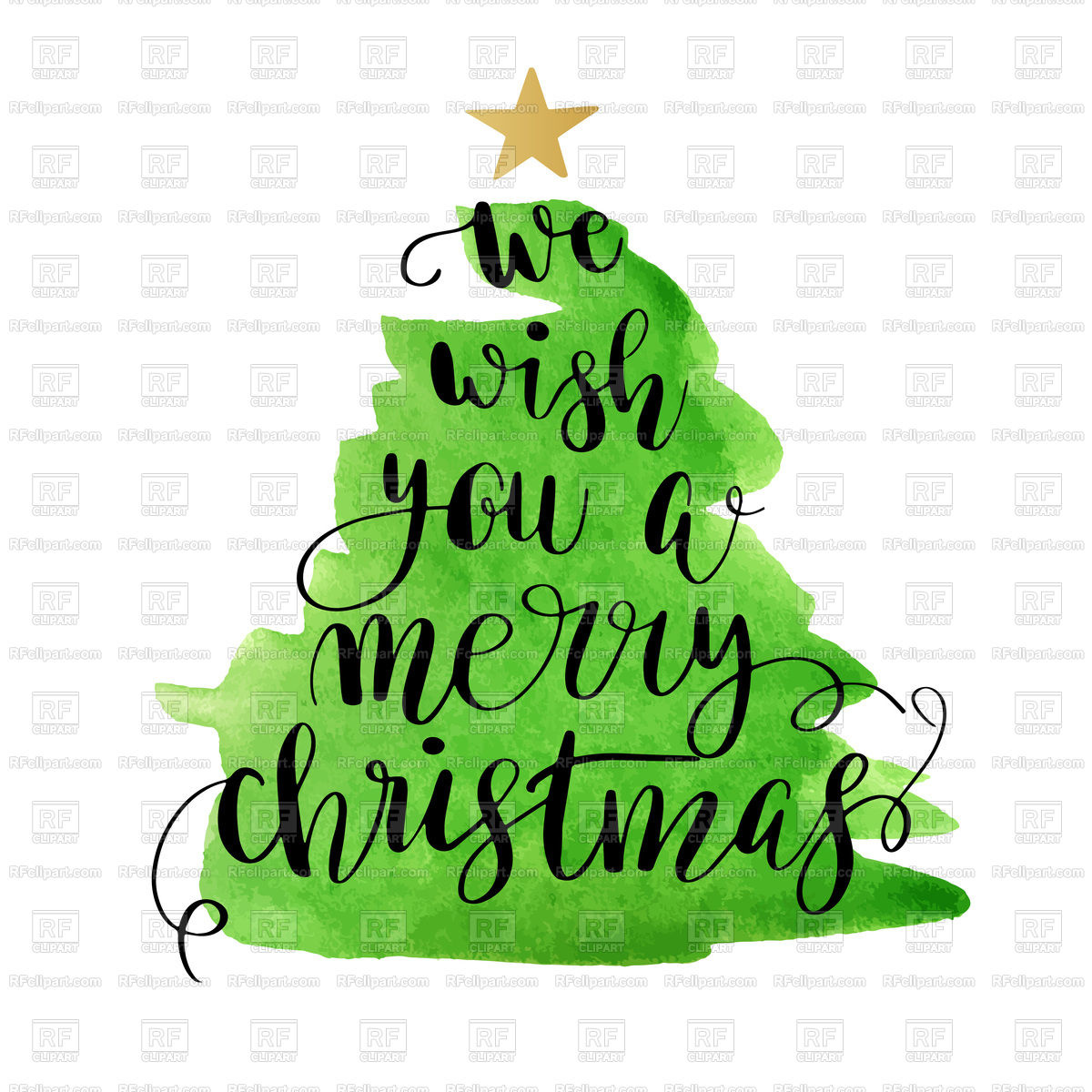 1200x1200 Poster With Christmas Tree And Lettering Text Royalty Free Vector