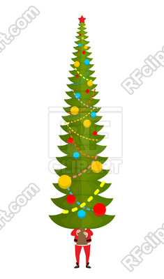 235x400 Santa Carry Big Christmas Tree Royalty Free Vector Clip Art Image