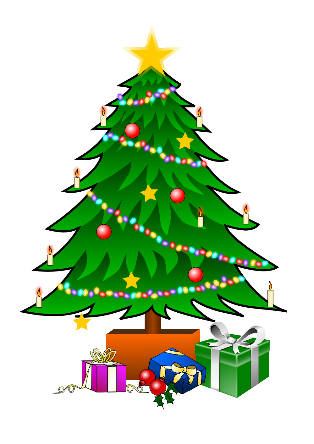 999x1413 This Nice Christmas Tree With Presents Clip Art Can Be Used