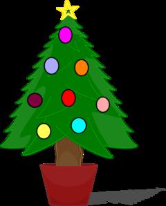 240x298 Christmas Tree With Rainbow Color Ornaments Clip Art