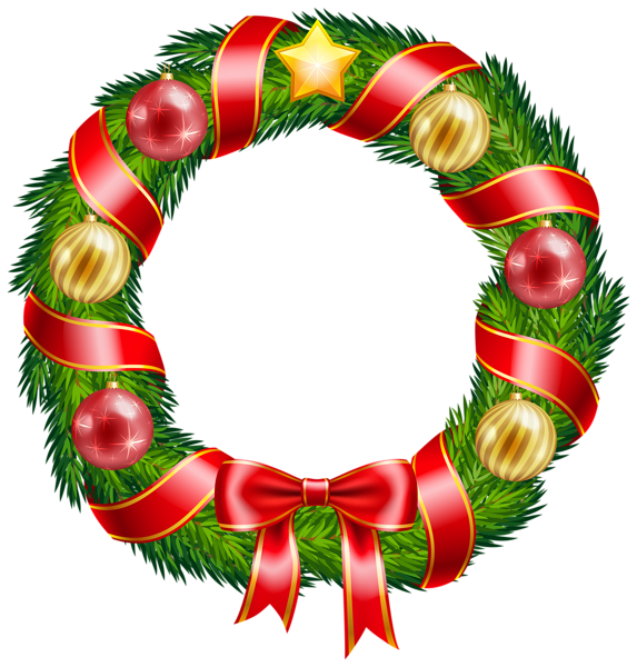 573x600 Christmas Wreath With Ornaments And Red Bow Clipart Png Image