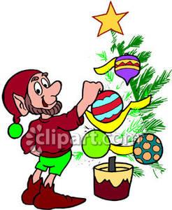 246x300 Elf Decorating Christmas Tree