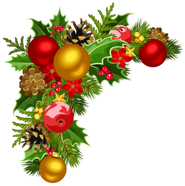 597x600 Christmas Deco Corner With Christmas Tree Decorations Clipart