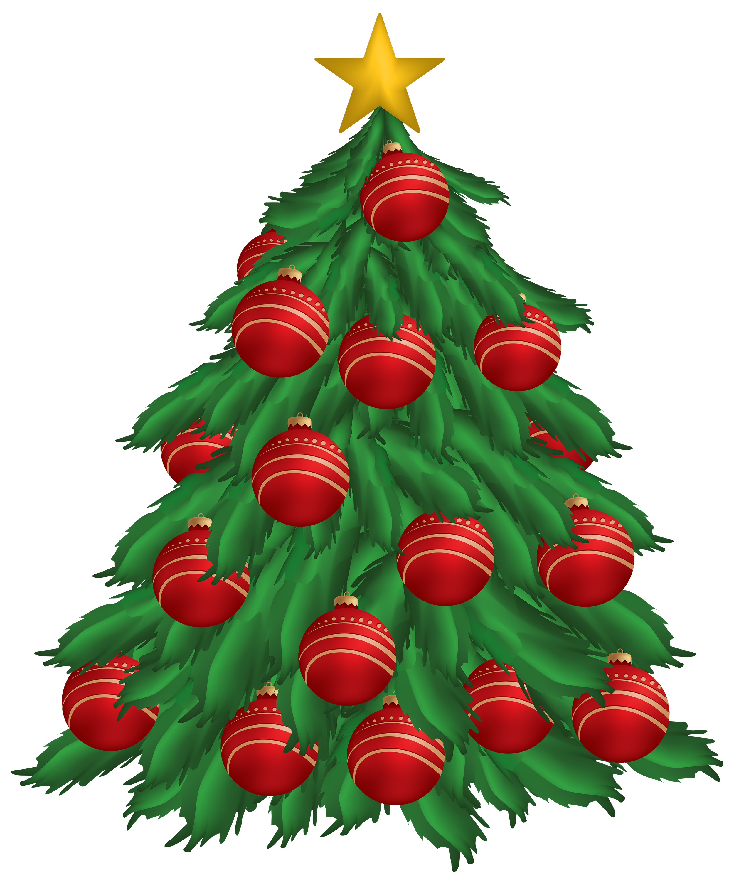 2500x3015 Christmas Tree With Red Ornaments PNG Clipart