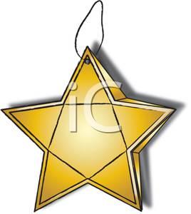 268x300 Clip Art Image A Gold Star Christmas Tree Ornament