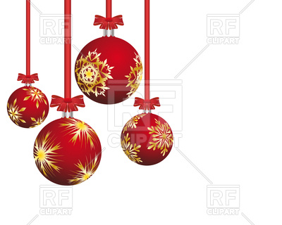 400x320 Red Christmas Balls With Snowflakes Royalty Free Vector Clip Art