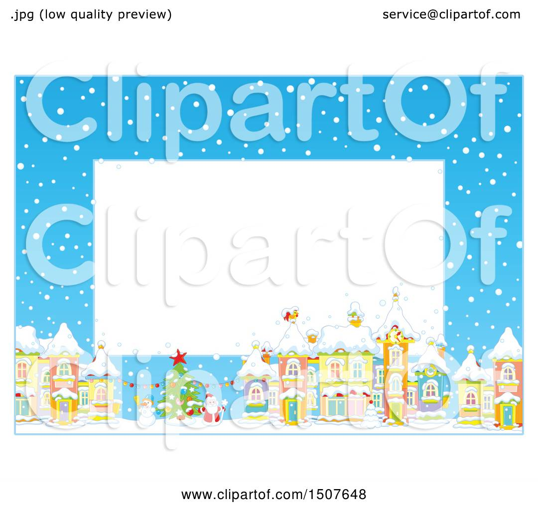 1080x1024 Clipart of a Christmas Border of a Snowy Village with a Snowman
