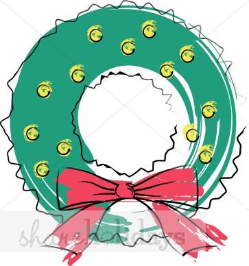 363x388 Painted Christmas Wreath Christmas Wreath Clipart