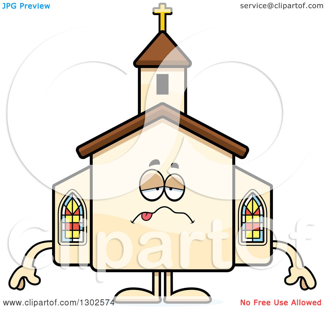 1080x1024 Clipart Of A Cartoon Sick Or Drunk Church Building Character