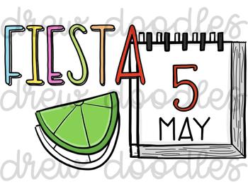 350x263 Fiesta Cinco De Mayo Digital Clip Art Set Color And Black Line Combo